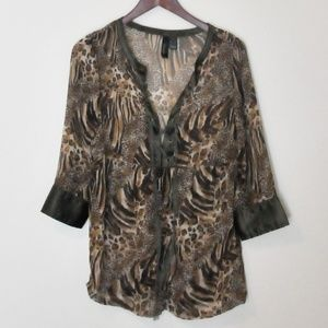 Tops - Lace up animal print peasant top, size M